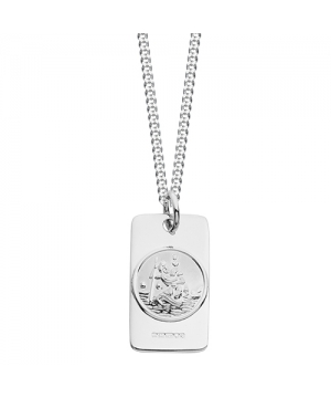 Silver rectangular St Christopher necklace