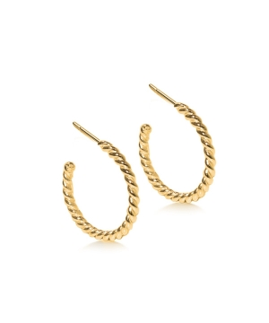Gold plated and silver twisted rope hoop earrings.