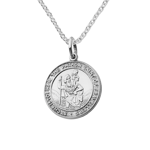 Mens silver necklaces hersey silversmiths chunky round st christopher pendant aloadofball Image collections